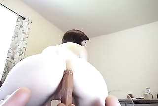Pale Slut Riding A Dildo With Her Ass While Boyfriend Watches