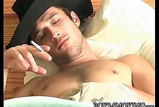 Cigar loving cowboy beating his meat until cumming hard