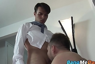 College twink comes home for bareback with hairy daddy