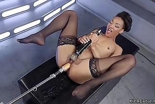 Dry-as-dust chest ebony fucks fast machine