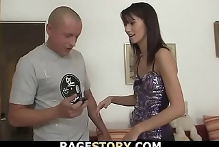 Betrayed man roughly bangs brunette babe