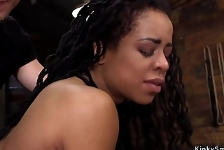 Black slave trained for self anal fisting