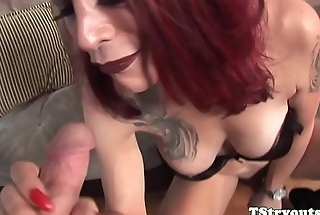 Redhead ts beauty sucking dong at casting