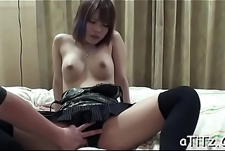 Voluptuous japanese in nylons toys her slutty beaver