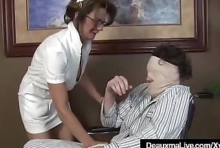 Busty Mature Take responsibility for Deauxma Gives Patient Sloppy Hot Handjob!