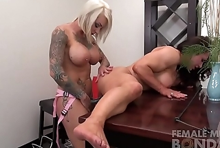 Two Sexy Female Physicality Lesbians Dildo Fuck
