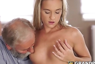 Tender babe plowed hard and fast by vigorous of age cock