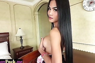 Busty ladyboy shemale rides a hard cock like a crazy