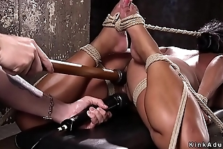 Huge tits slave made to squirt nearly dungeon