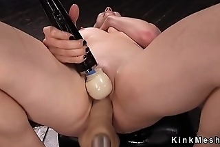 Blonde gets double penetration tool