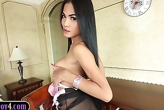Busty and hung ladyboy bareback anal with a white dude