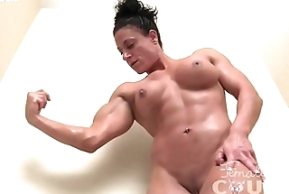 Ripped Naked Female Bodybuilder Plays nearly the Bathtub