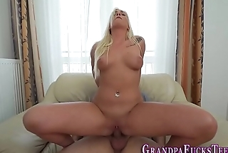 Teen jizzed by old perv