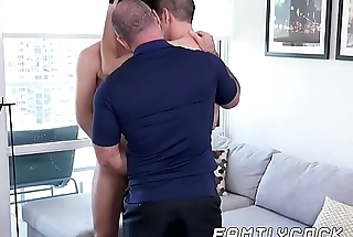 Flimsy daddy gets barebacked hard in wild stepson threesome