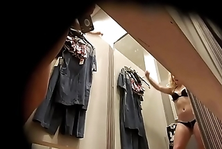 Dressing room, perky blonde