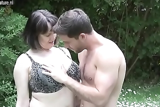 Big breasted British MOM fucking not her