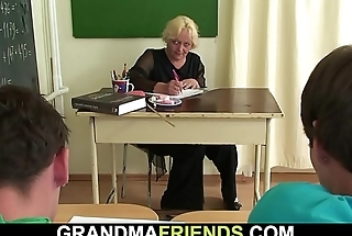 60 yo granny teacher is pounded by two boys